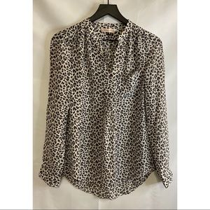 Rebecca Taylor Leopard Print Silk Top Size 4
